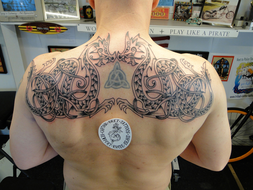 89afb2f82 Viking- Nordic-Norse -Scandinavian styled Dragons. A Custom Tattoo by  Captain Bret. Large Celtic Cross Tattoo on Back